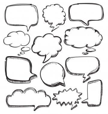 Vector hand drawn speech bubbles on white stock vector