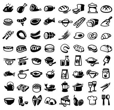Vector black food icon set on white stock vector