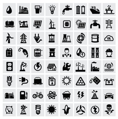 Vector black energy icons set on gray stock vector