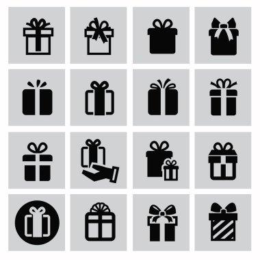 Vector black gift icon set on gray clip art vector