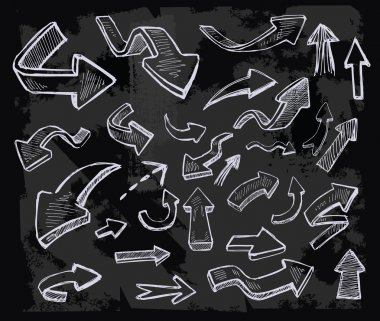 Vector hand drawn arrows icons set on chalkboard stock vector