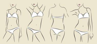 Vector woman in bikini
