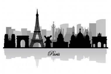 Vector paris skyline silhouette