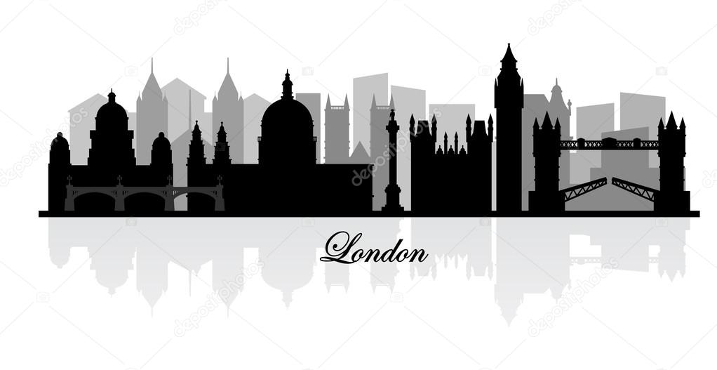 Vector London Skyline Silhouette Stock