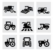 vektorové ikony nastavit černý zemědělské dopravě