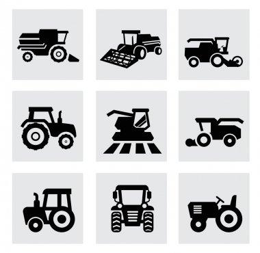 Vector black agricultural transport icons set