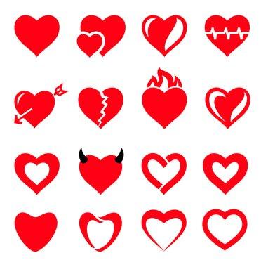 Vector hearts icon set stock vector