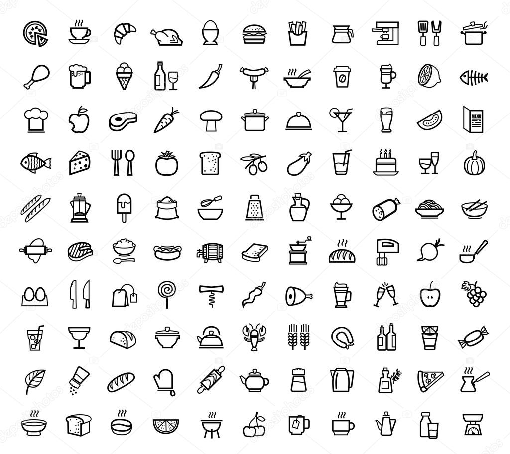 Vector food icons set stock vector