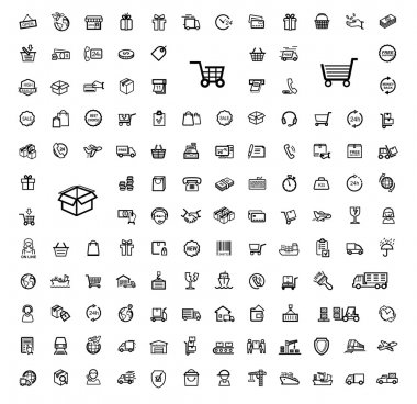 Vector black shipping icon set