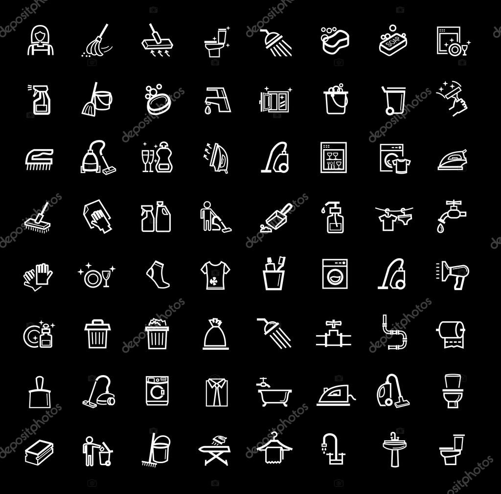 Vector black cleaning icons set