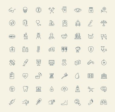 Vector black Medicine & Heath Care icons clip art vector