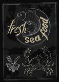vektorové čerstvé mořské plody