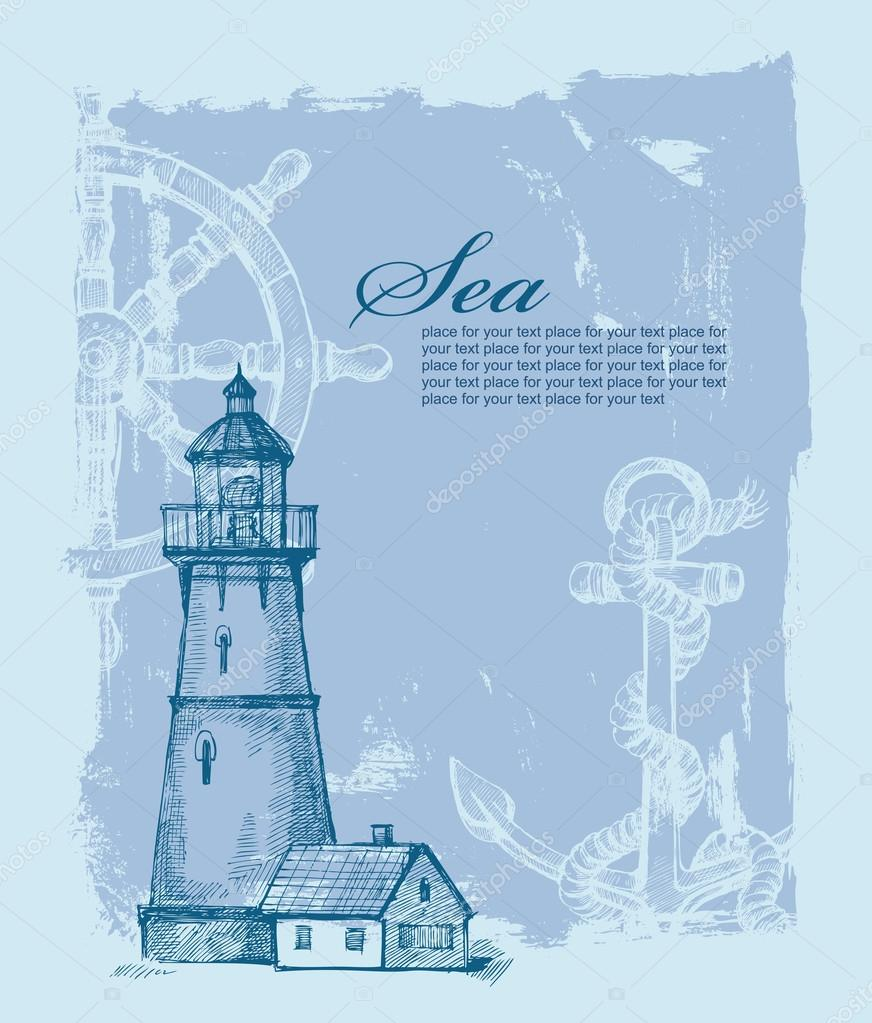 hand drawn lighthouse