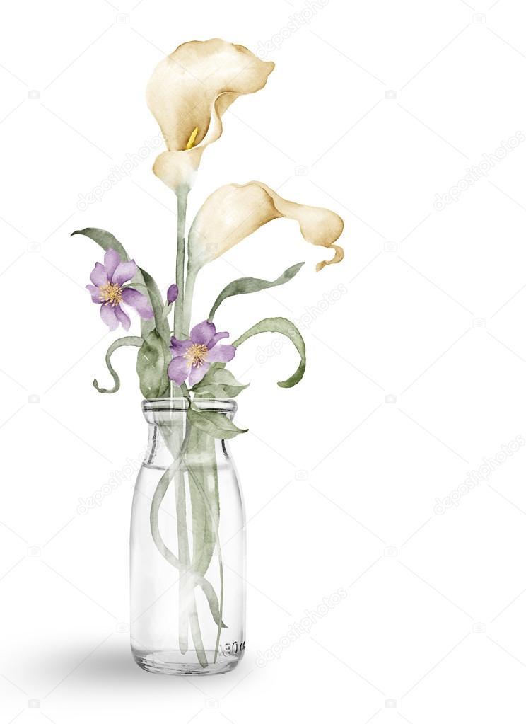 Aquarell Abbildung Blume in einfachen weißen Hintergrund — Stockfoto ...