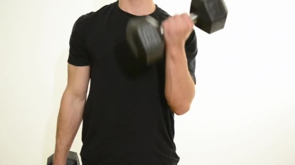 Hispanic Teen Working Out with Weights
