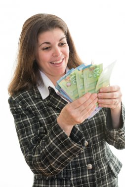 Woman Counting a Lot of Money