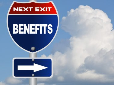 Benefits road sign