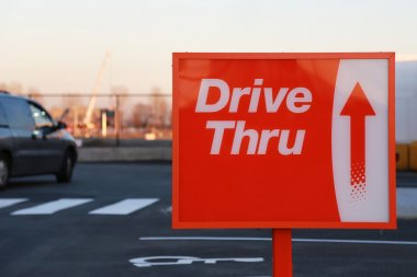 Drive thru road sign