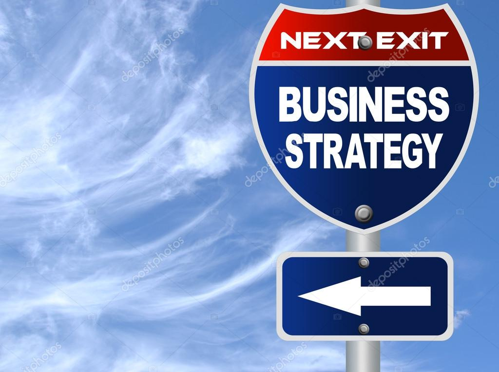 Business strategy road sign