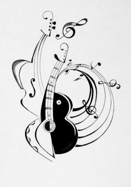 Picture of guitar with musical notes