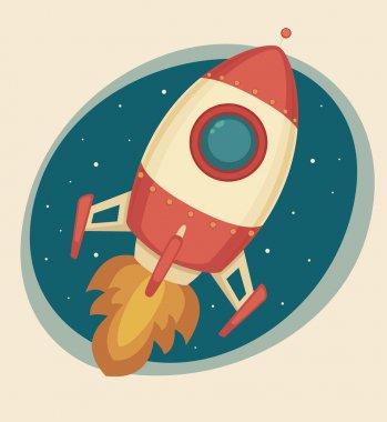 Retro Rocket clip art vector