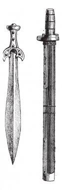 Welsh Swords, vintage engraving