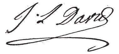 Signature of Jacques-Louis David (1748-1825), vintage engraving.