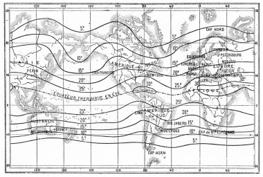 Map of isothermal lines or isotherms of summer, vintage engravin
