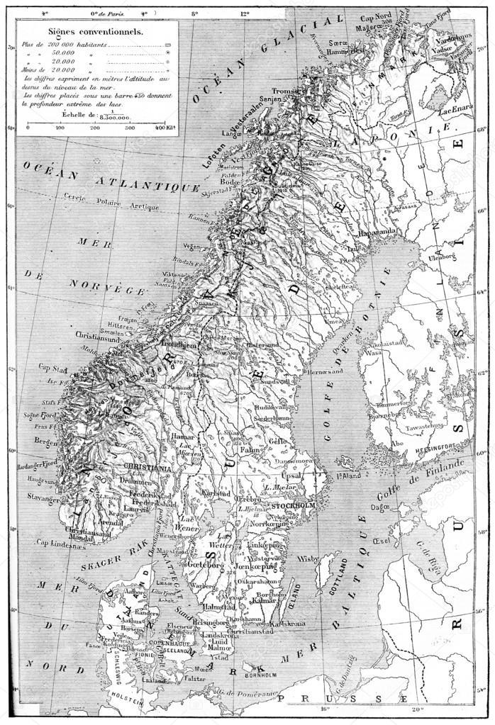 Karte Skandinavien.Karte Von Skandinavien Schweden Norwegen Und Dänemark Vintage