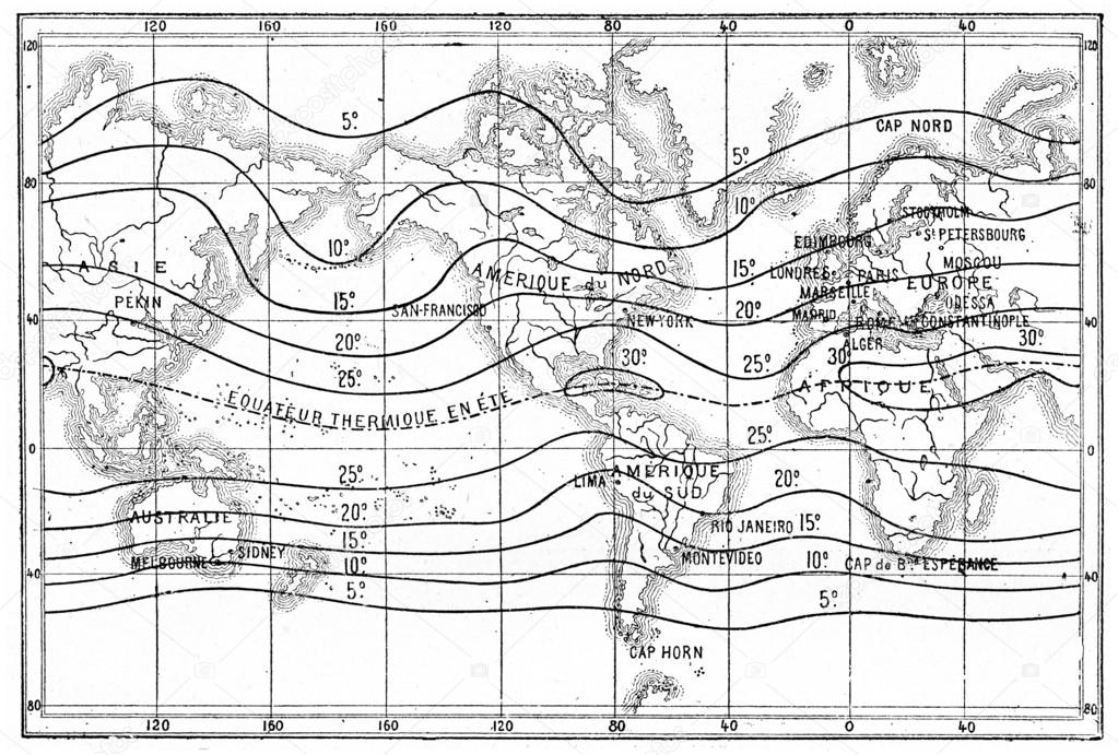 Map Of Isothermal Lines Or Isotherms Of Summer Vintage Engravin - Isothermal map of us