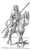 Photo Templar on horse, vintage engraving.