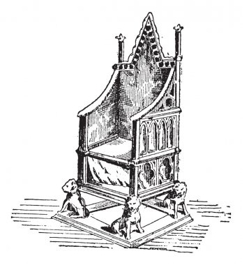 Throne, vintage engraving
