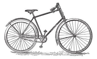 Velocipede bicycle, vintage engraving.