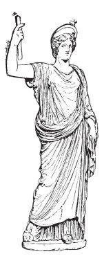 Juno (Naples Museum), vintage engraving.