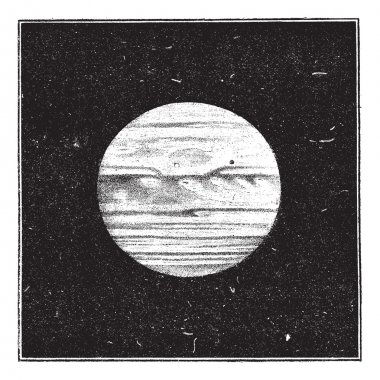 Aspect of Jupiter in December 1885 with a satellite passing the