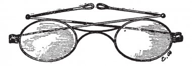 Glasses, k bridge, vintage engraving.