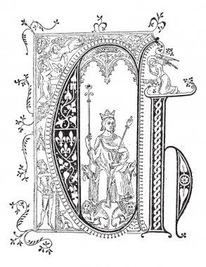 Miniature, vintage engraving