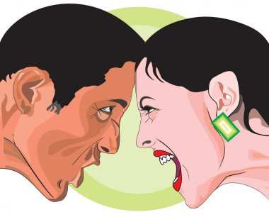 Man and woman fighting, illustration
