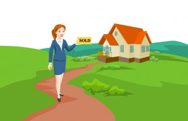 Woman Real Estate Agent Selling a House, illustration