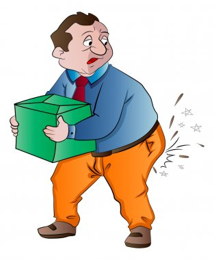 Man Experiencing Butt Pain After Lifting a Box, illustration