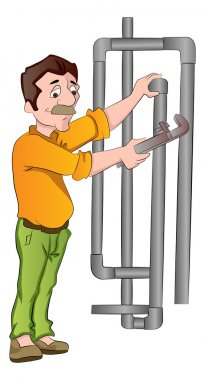 Plumber Fixing Pipes, illustration