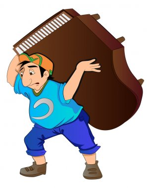 Man Lifting a Piano, illustration