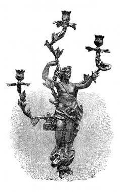 Branched Candelabra, vintage engraving
