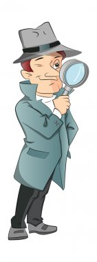Vector of male detective looking through magnifying glass.