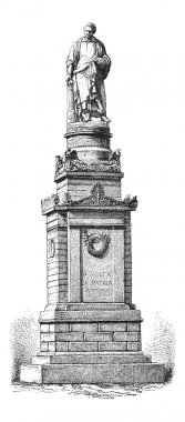 Monument of Alessandro Volta, vintage engraving