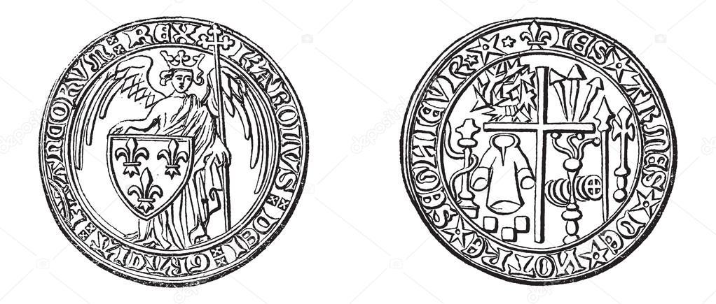 Antike Münzen Vintage Gravur Stockvektor Morphart 23007780