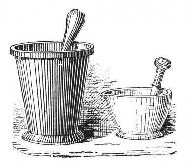 Mortar and Pestle, vintage engraving