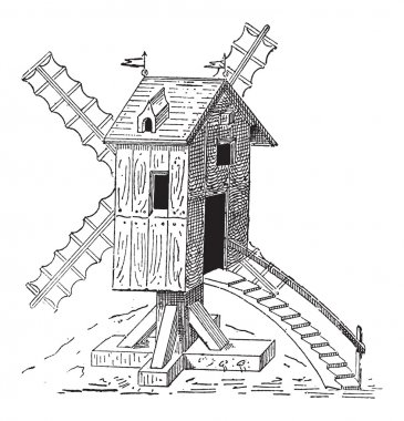 Wooden Mill, vintage engraving