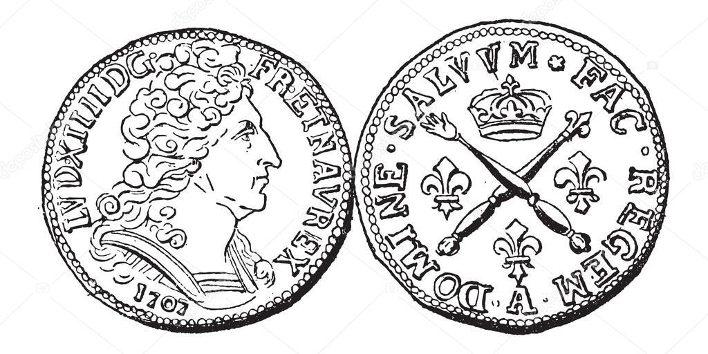 Münze Währung Ludwig Xiv Jahrgang Gravur Stockvektor Morphart