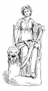 Statue of Thalia, Muse of Comedy, vintage engraving